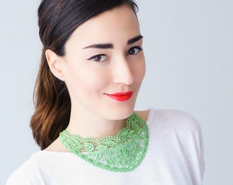 30% Inspiration Green Necklace Venise Lace Necklace Lace Jewelry Bib Necklace Statement Necklace Body Jewelry Gift/ UDINE