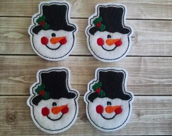 """Snowman Felt Embellishment, set of 4, Felties, 2"""" x 2.25"""""""