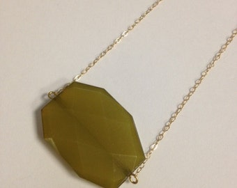Gold-filled Necklace with Olive Green Chunky Bead