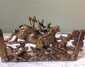 Vintage Brass Elk Bookends Elk and Dogs Bookends Brass Bookends