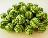 """Crochet beads 5 PCS 20 mm 3/4"""" Green Melange beads Wooden crochet cotton beads / crocheted bead / round beads"""