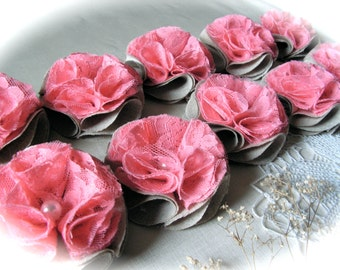 Shabby Chic  Flowers  Linen  and Raspberry Lace  Flower  Rosette Flowers Centerpiece Wedding Decor Set of 10