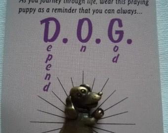 Vintage Signed JJ Pin Tac God's Creatures Dog