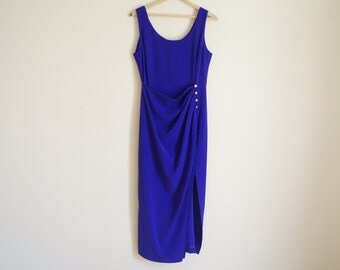 Vintage 1980s Dress / Vintage Purple Dress / EVAN PICONE Dress