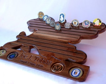 US NAVY SUPPLY Corps Military Challenge Coin Display, Solid Hardwood, Engraved, Military Challenge Coin Holder, Coin Rack, Supply Corps