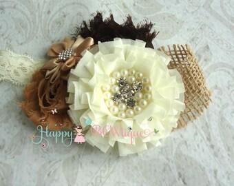 Flower girl Burlap headband, Flower girl headband, Baby Girls headband, Wedding headband,Rustic headband, Rustic Country, Birthday headband