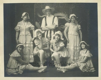 Theater group people in great costumes antique photo
