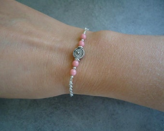 Silvery chain with czech pink beads bracelet - Hand-made jewelry - Chic jewellery