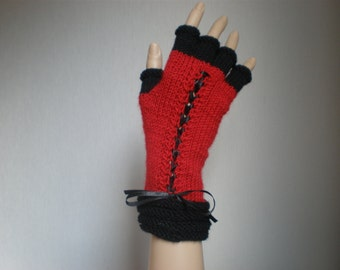 Handknitted red color with black accent color women gloves with half fingers
