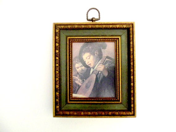 Framed Singing Boys by Hals, Art Print, Dark Green Bronze Tone Antiqued Frame, Art Print Singing Boys, Framed Accent Picture Old World Decor