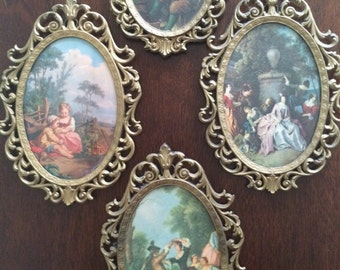 Lot of 4 vintage metal brass glass italian frames country scenes