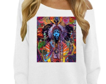 Jimi Hendrix Psychedelic Off The Shoulder Sweatshirt