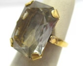 Vintage 10K Filled Large Clear Stone Ring Size 4.75  6 Grams #543