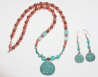 Natural Turquoise Necklace Set with Copper Sand Dollar Design - S2364