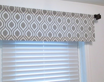 Raindrops Gray White Curtain Valance Soft Cornice Handmade in the USA
