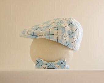Newborn boy prop, baby blue argyle newborn hat and tie, baby boy shower gift, newborn photo prop - made to order