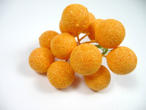 Vintage millinery oranges sugared fruit decoration large size for Fruit orange decoration