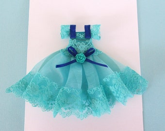 Beautiful Handmade Blue lace Little Girl Birthday Dress Card   - can be customized in English or Spanish