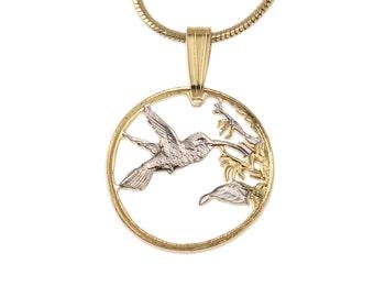 Hummingbird Pendant & Necklace, Trinidad One Cent Hand Cut, ( # 298 )