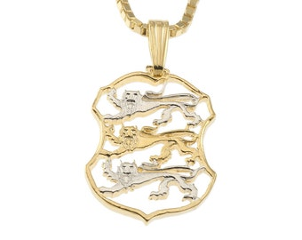"""Estonian Jewelry Pendant and Necklace, Estonian Two Krooni Coin Hand Cut, 14 Karat Gold and RHodium plated, 7/8"""" In Diameter, ( # 98B )"""
