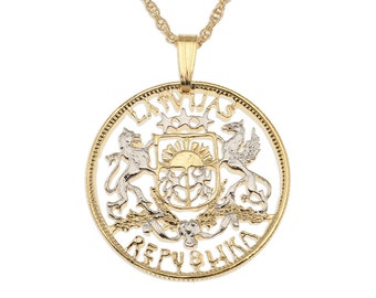 """Latvian Pendant and Necklace Jewelry Latvian two Latai Coin Hand cut, 14 Karat Gold and Rhodium plated, 1"""" in Diameter, ( # 224 )"""