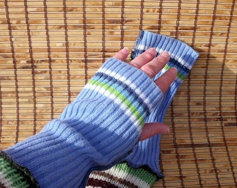 Fingerless Gloves, Blue Repurposed Sweater Mittens, Upcycled Arm Warmers, Recycled Sweater, Holiday Gift, Boho Chic Gloves