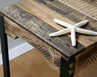 rustic reclaimed wood side table with iron legs dark walnut u0026 royal walnut made to order