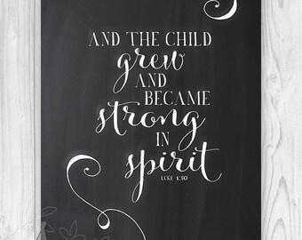 Nursery Bible verse, Scripture print, Christian Print wall art decor poster, Luke 1:80 - Home Decor - Wall ART PRINT