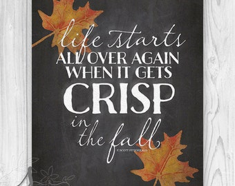 Crisp in the Fall Quote Art Print, Autumn Quote Decor, Thanksgiving Art Print, Chalkboard Typography, Fall Art, Autumn Leaf Poster