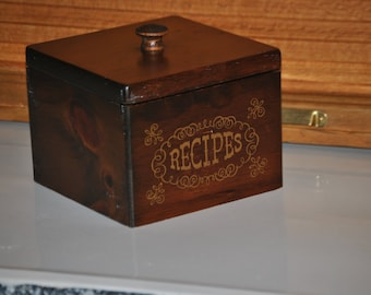 DISCOUNTED-Vintage Wooden Over-Sized Recipe Box