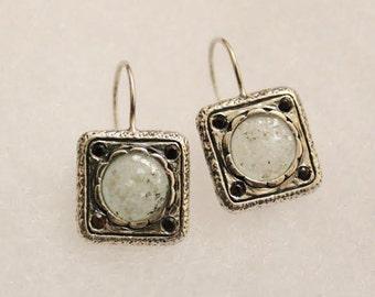 vintage sterling silver Roman Glass  and garnet earrings