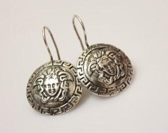 vintage  sterling silver Greek  style   silver dangle earring