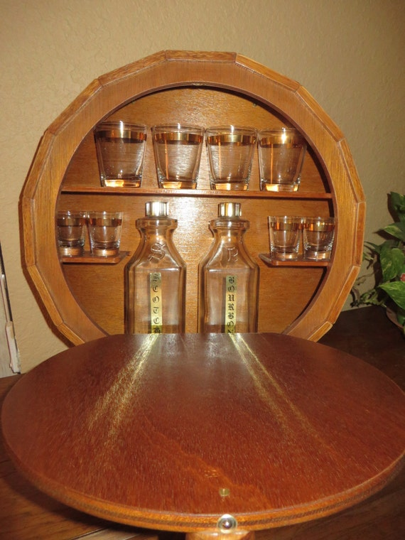 Wall Mounted Wood Barrel Mini Bar Liquor Cabinet Complete Set