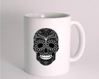 Skull Mug. Sugar Skull Mug. Dia de Los Muertos. Black skull. Tattoo mug.  Great gift for family, friends and coworkers. PRIORITY MAIL