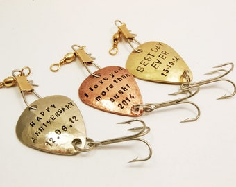 Set of 3 - Custom Fishing Lures Handstamped Personalized Message Names Dates Initials, Fisherman Men Father Boyfriend Anniversary Gift