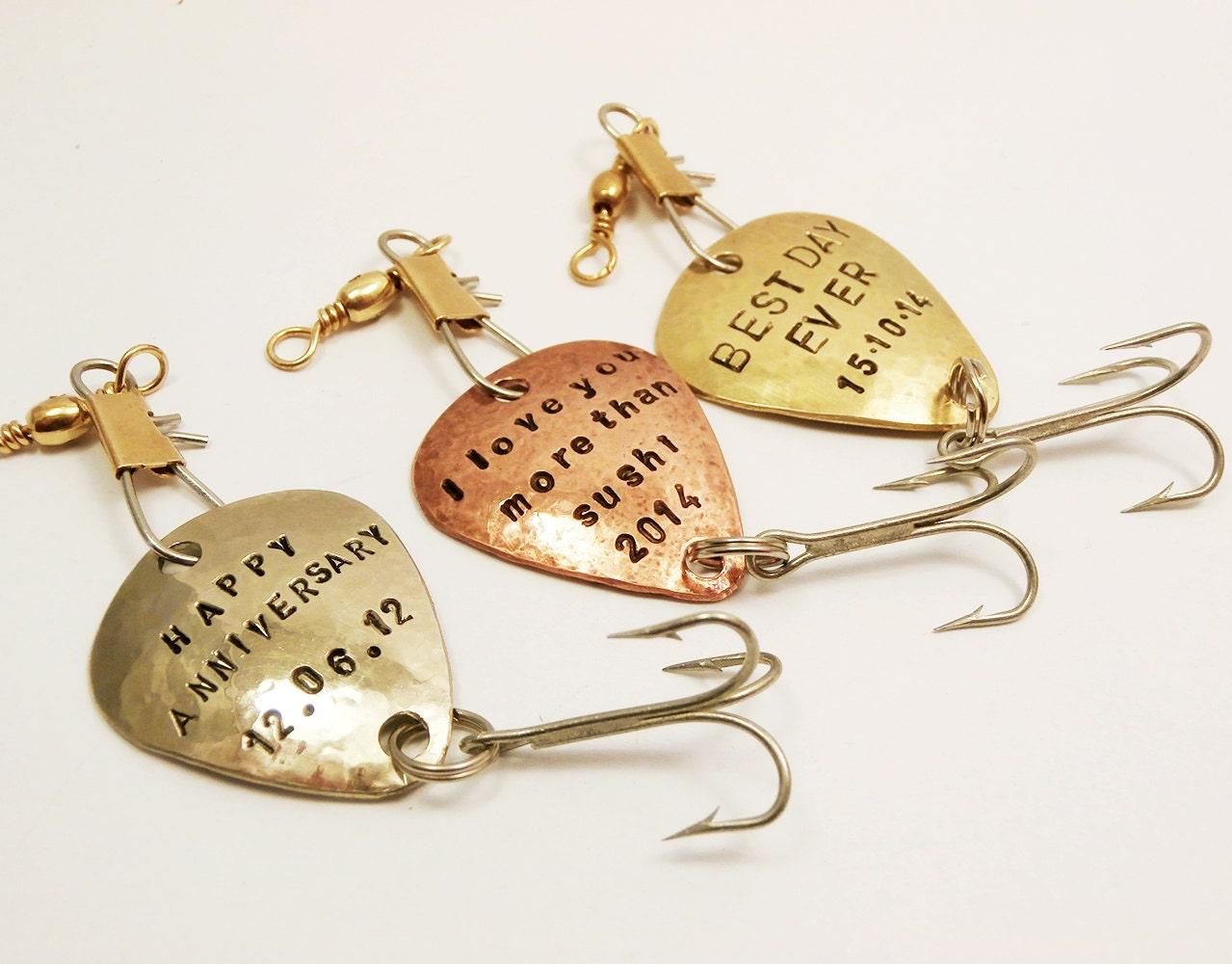 Set of 3 custom fishing lures handstamped personalized for Personalized fishing lures