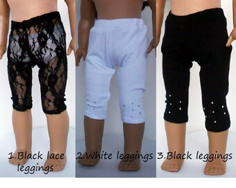 american girl doll, leggings, black lace leggings, white leggings, black leggings