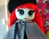 "Ruby Gloom cloth 14"" doll sarah hair wig and w removeable clothes Ooak Edition 14"" fashion doll"