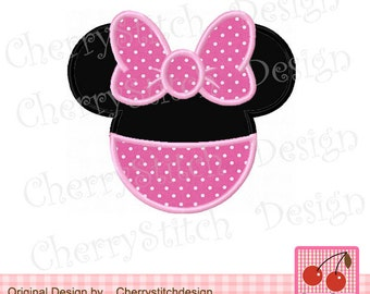Minnie Mouse ears Machine Embroidery Design -4x4 5x5 6x6 inch