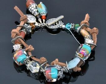Lampwork Bead Bracelet -Artisan Handmade Boro Cube- Bali Silver -Shades of Turquise, Magenta & Purple