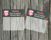 INSTANT Download 100th Day of School girl OWL Snack Mix Treat Bag Topper  - (2) U Print