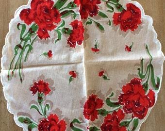 Hankie hanky Vintage Ladies Handkerchief round red floral pattern rare