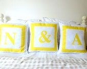 Monogram decorative custom made throw pillow handmade in the UK personalized cushion cover set of 3 ideal wedding Christmas anniversary gift