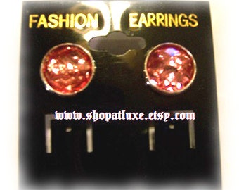 Faceted Cabochon Stud Earrings in Magenta