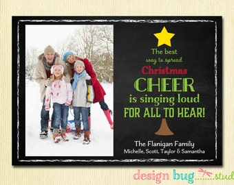 Chalkboard Christmas Card - Elf Christmas Tree Quote - Family Photo Christmas Card - 1 or 2 Pictures - Printable Card, Digital File