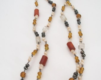 Autumn Beaded Necklace Earthy Boho Bohemian