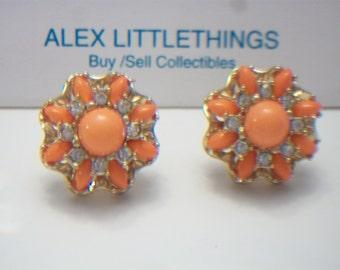 Coral floral earrings, Coral and rhinestone earrings