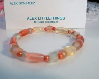 Pink Tangerine Beaded Stretch Bracelet Costume Jewelry