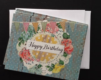 Floral Doily With Pennant Happy Birthday Single Notecard