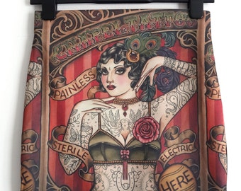 Tattooed Lady Circus Poster Skirt - Size 8 10 12 14 16 - Mini Body Digital Print Retro Wiggle Alternative Vintage Old School Skool Rose